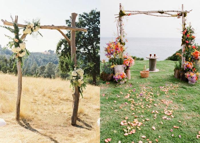 Altar pergolado de casamento ao ar livre