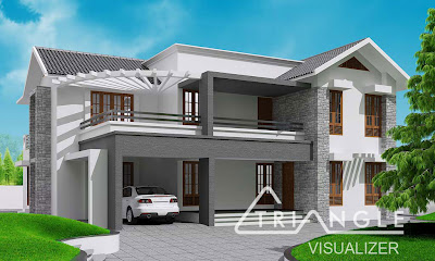 ... Sloping house - kerala house elevations from Triangle Visualizer team