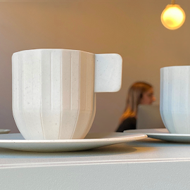 Paper Porcelain espresso cups at HAY pop up on Green.
