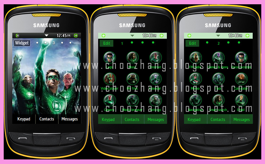 Samsung Corby 2 Or S3850   Green Lantern Theme