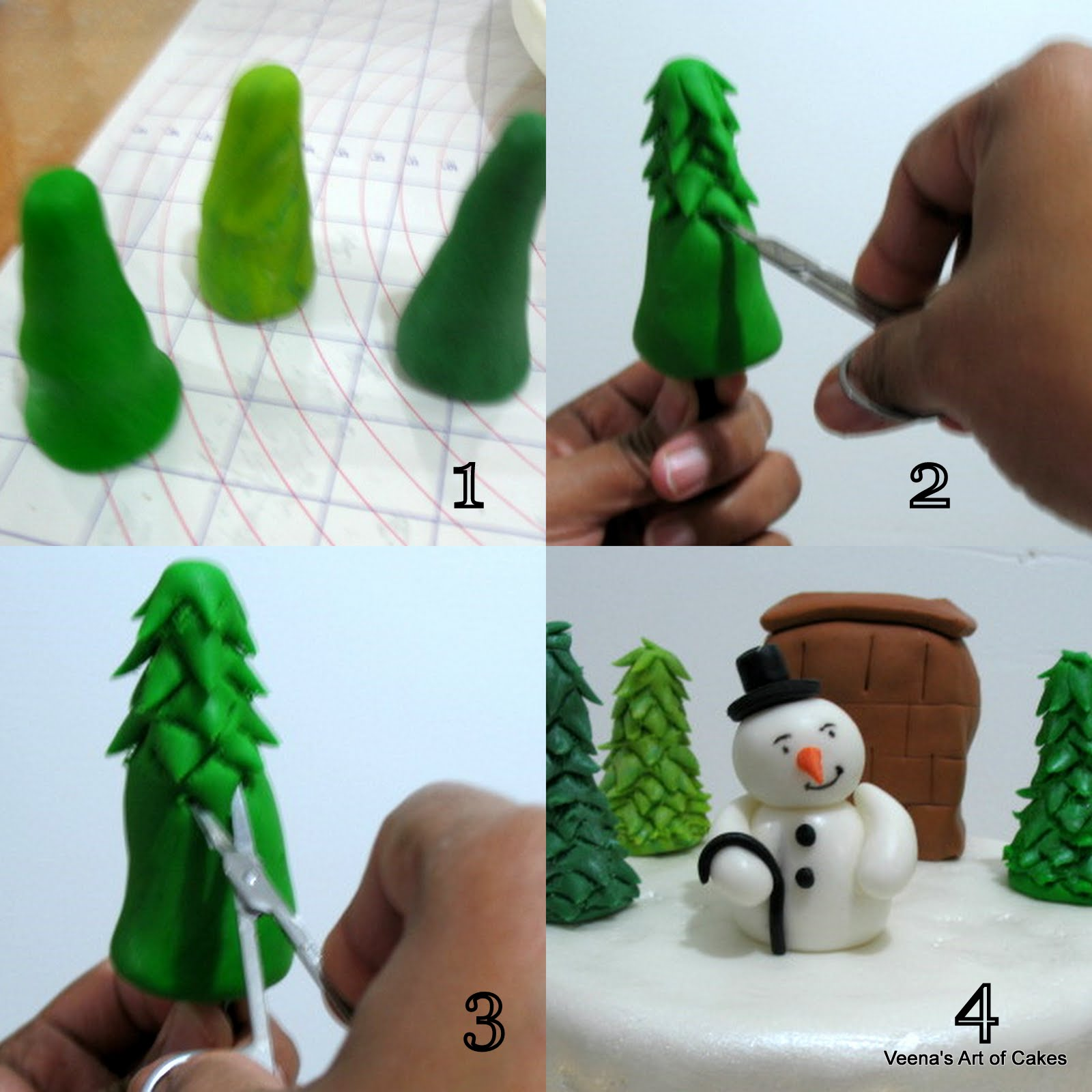 Cake Decorating Making Trees : Christmas Cake - Veena Azmanov