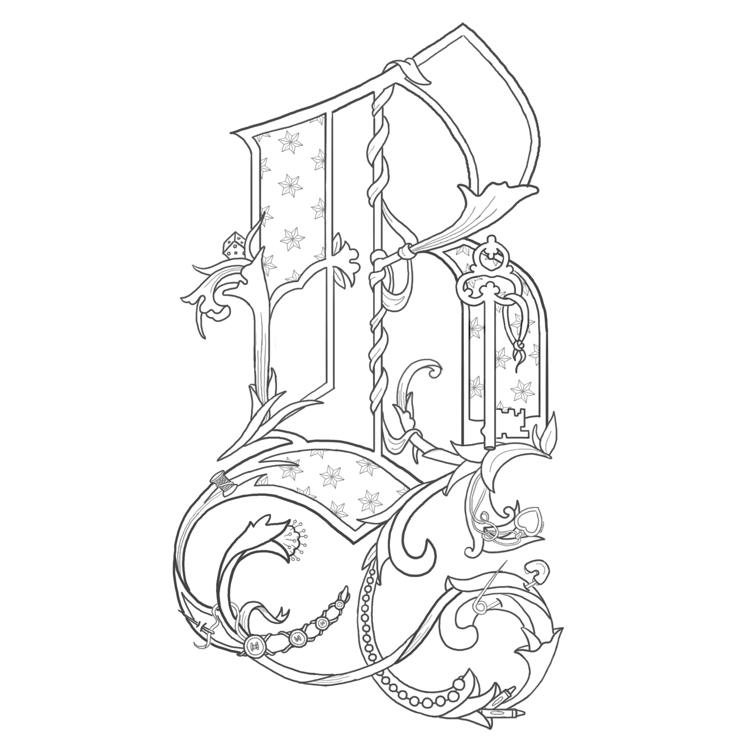 illuminated alphabet coloring pages free - photo#33