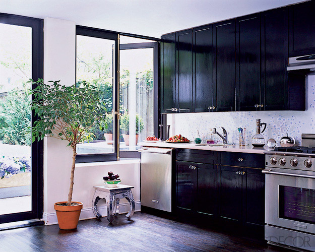 Nina farmer interiors the black kitchen for Elle decor kitchen ideas