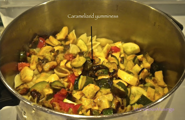 photo of caramelized summer squash with shell pasta/marvelousmusings