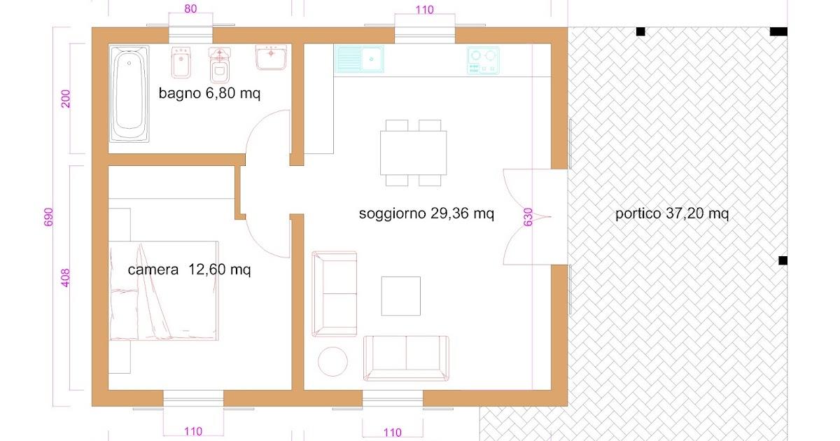 Progetti di case in legno casa 60 mq portico 37 mq for Progetti di piani portico proiettati