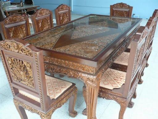 Meja makan kayu jati ukir 8 kursi