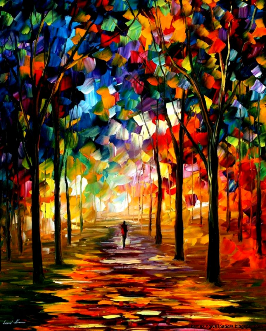 FOREST PATH — PALETTE KNIFE Oil Painting On Canvas By Leonid