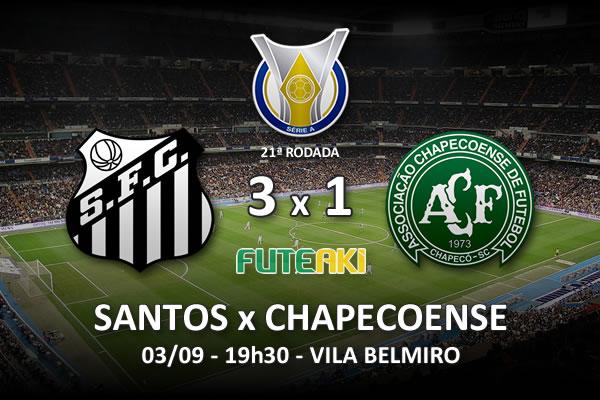 Veja o resumo da partida com os gols e os melhores momentos de Santos 3x1 Chapecoense pela 22ª rodada do Brasileirão 2015.