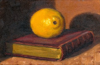 Oil painting of a lemon on top of a red leather-bound book.