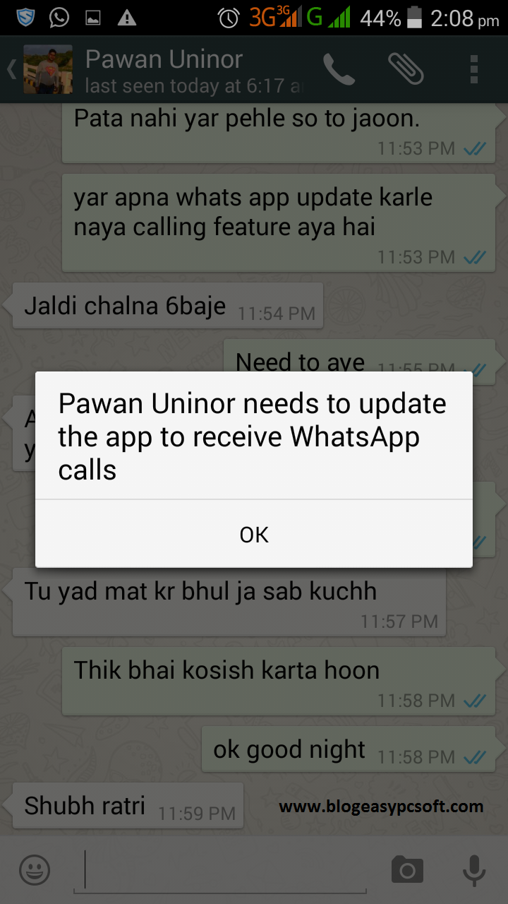Whatsapp update notification.