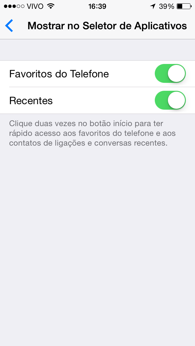 Multitarefa Contatos iOS 8 beta 4