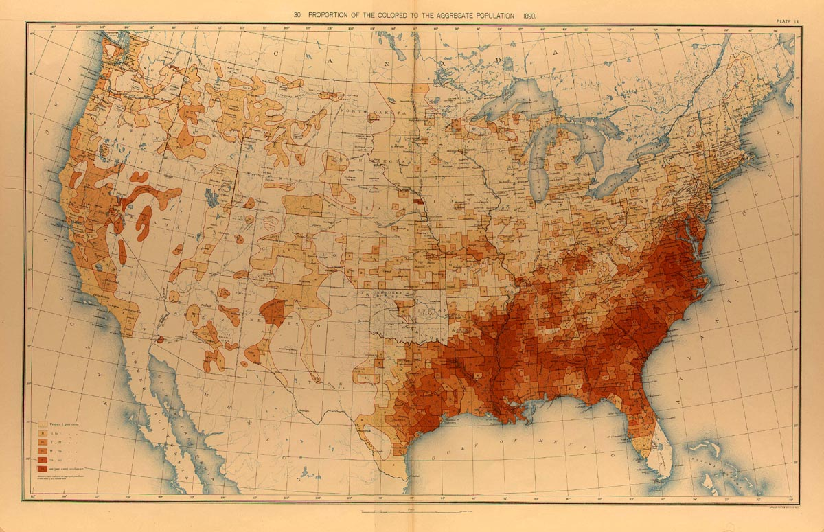 distribution of african american population 1890