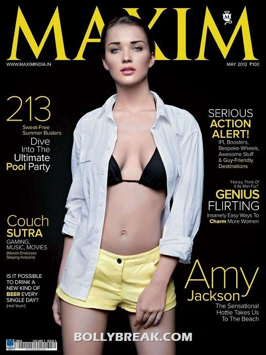 Amy Jackson in black bikini on maxim india cover - Amy Jackson Bikini Scans from Maxim India May 2012 Issue