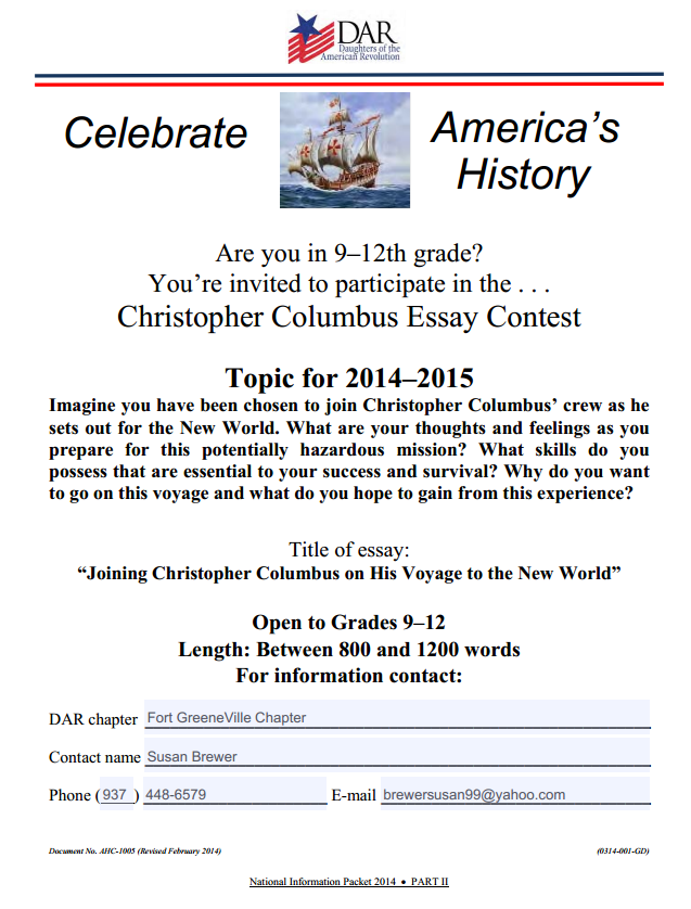 christopher columbus dar essay contest