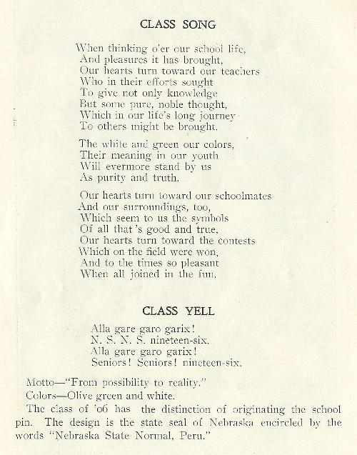 1906 yearbook class song