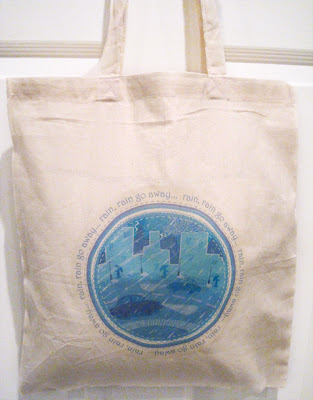 Rain, rain go away...cotton tote bag.