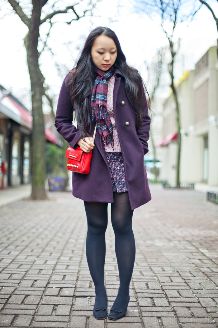 ann taylor wool winter coat, H&M tweed pink mini skirt, chunky l.l. bean yarn sweater, vintage ysl pumps, be & d red leather bag, nyc fashion blog streetstyle, winter 2012, diya liu