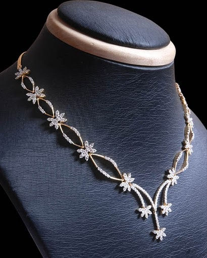 Indian Simple Gold Necklace Designs Gold and Diamond jewel...