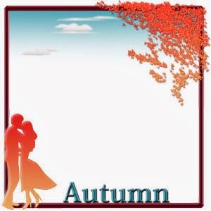 秋の恋人達をイメージした飾り枠のイラスト無料ダウンロード