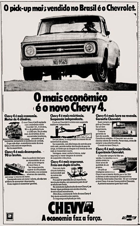 Chevrolet. reclame de carros anos 70. brazilian advertising cars in the 70. os anos 70. história da década de 70; Brazil in the 70s; propaganda carros anos 70; Oswaldo Hernandez;