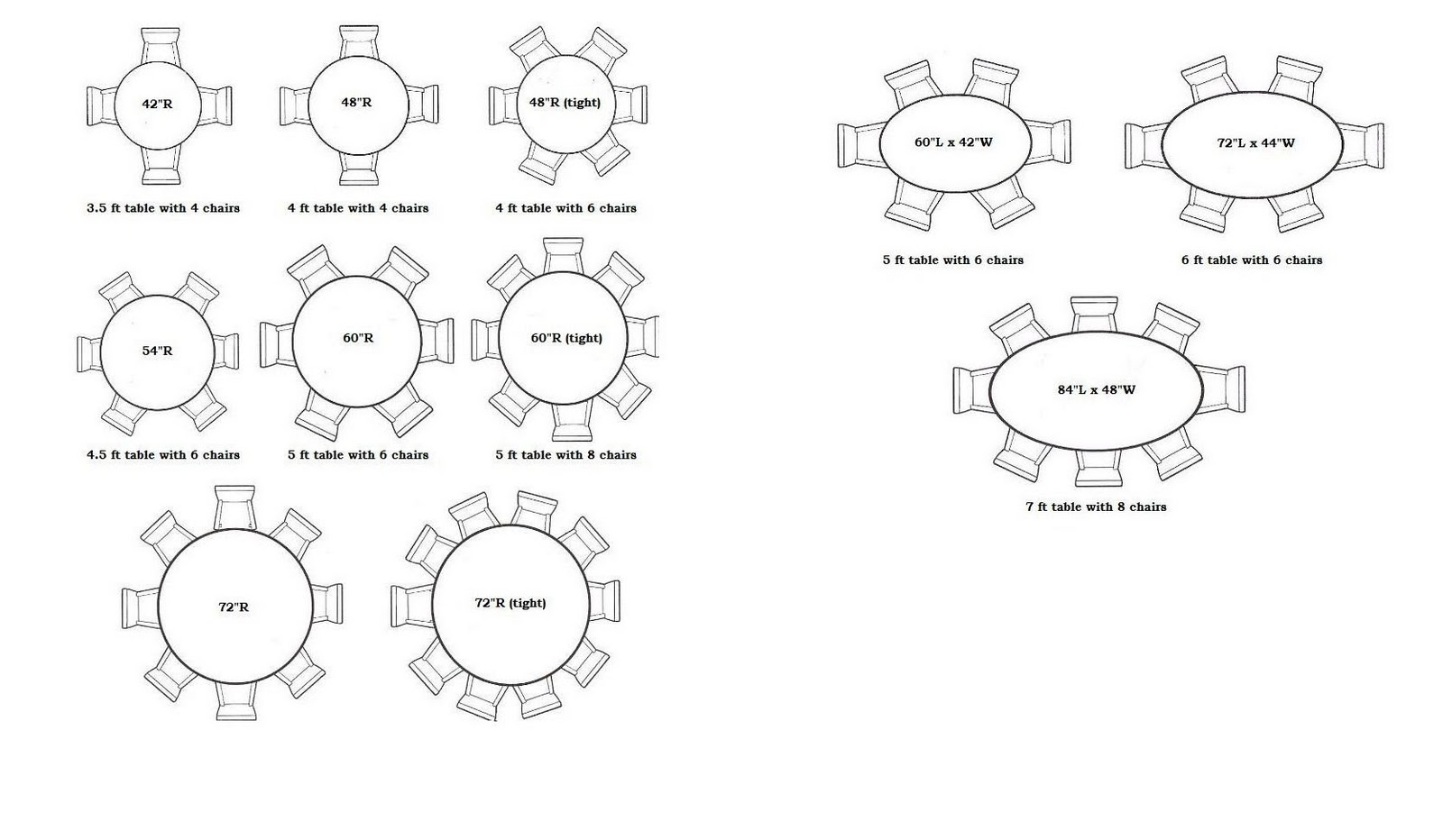 Bon 8 Person Round Table Size Designs