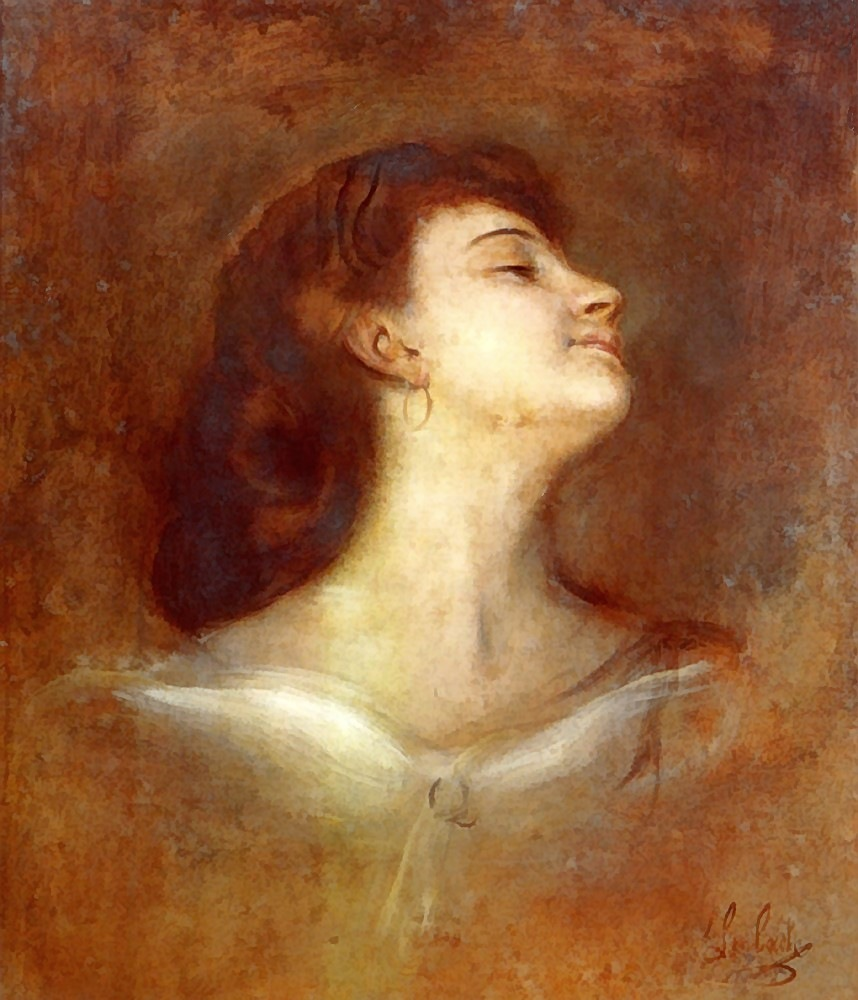 Franz  von  Lenbach  portrait  of  a  lady  in  profile