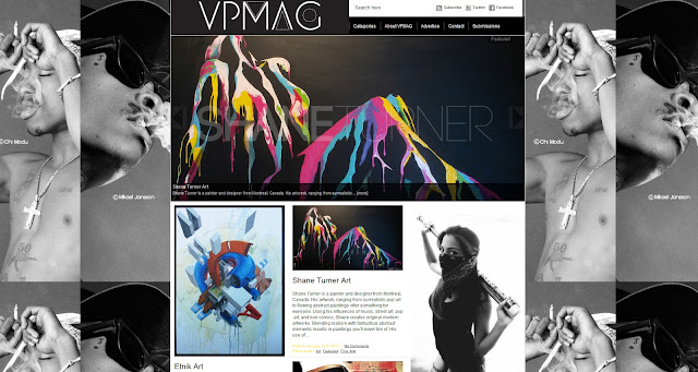 Screenshot of the mainsite of vpmag.net featuring the paintings of Canadian painter Shane Turner