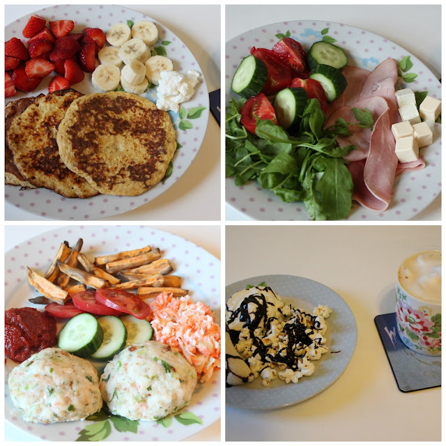 collage of Slimming World meals - syn free pancakes, ham salad, ocean burgers, banana split with popcorn and chocolate