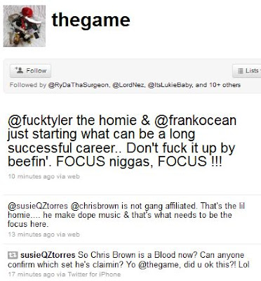 Rapper The Game has to say about to Chris Brown   Tyler The Creator    Tyler The Creator And Chris Brown