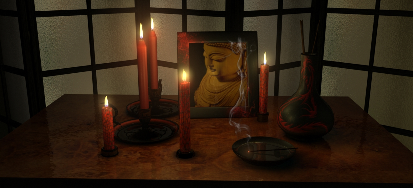 Candle lighting scene rendered with Maya software render in Autodesk Maya. : maya lighting - www.canuckmediamonitor.org