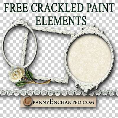 Free French Crackle Digi Scrapbook Elements