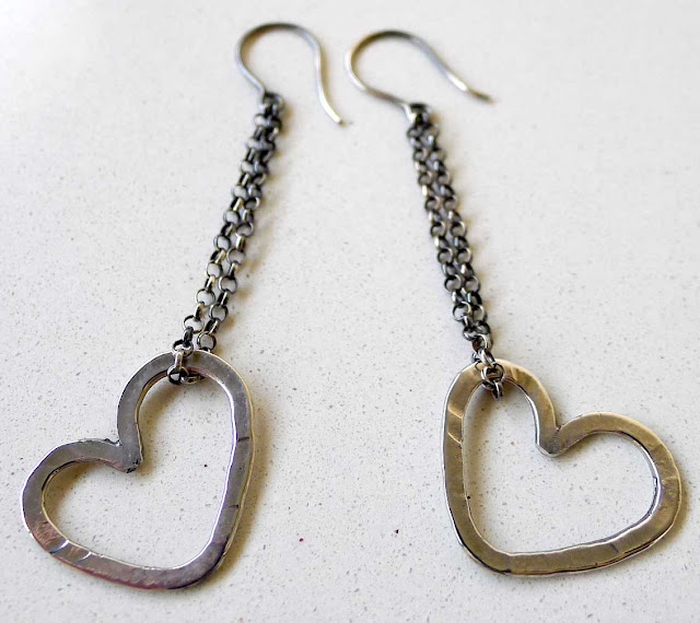 handmade silver heart earrings