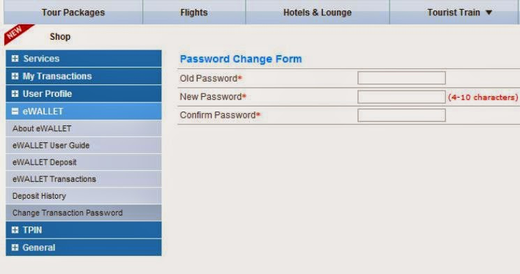 irctc change password