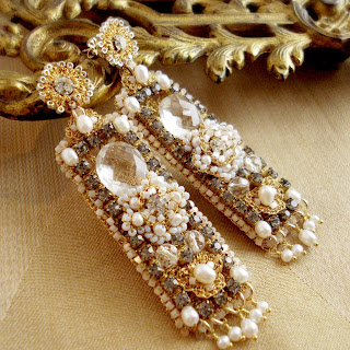 Gold Wedding Chandelier Earrings with Lace, Pearls