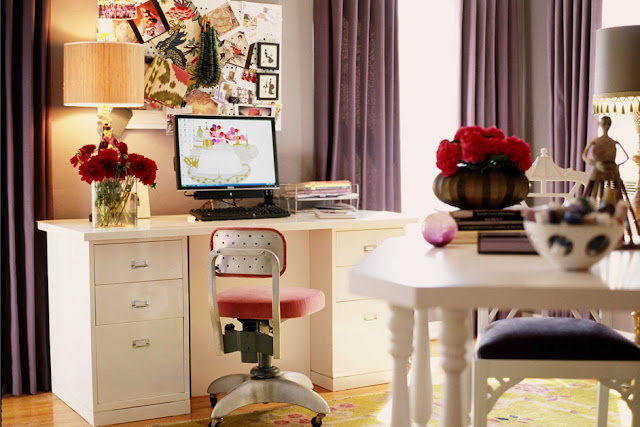 home office, purple violet office, inspiration board