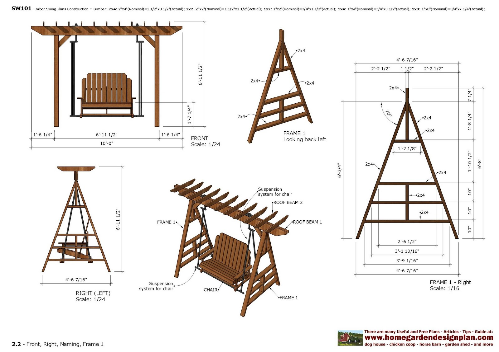 home garden plans furniture plans arbor swing plans