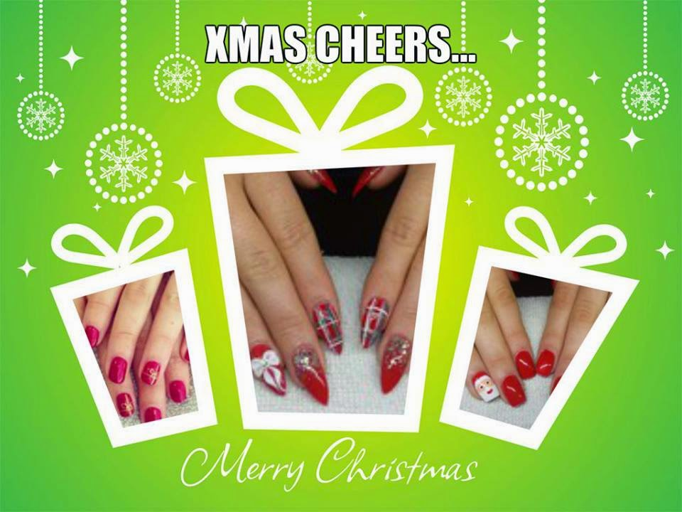 French white bridesmaid nails Creative Acrylic Mylar foil glitter Snowflakes and Santa Designs Christmas nail art Xmas wishes