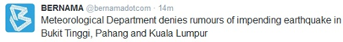 malaysia earthquake tsunami rumor