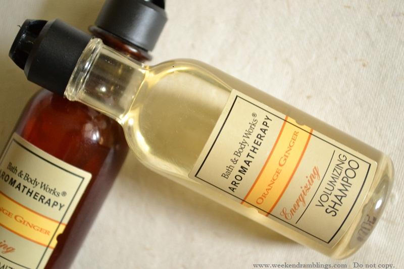 bath and body works orange ginger aromatherapy energizing volumizing shampoo conditioner review