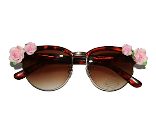 kawaii roses, roses and clementines floral sunglasses embellished with pink roses