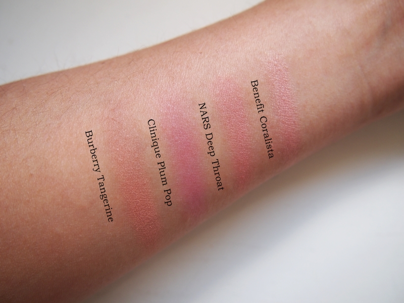 summer blush swatches