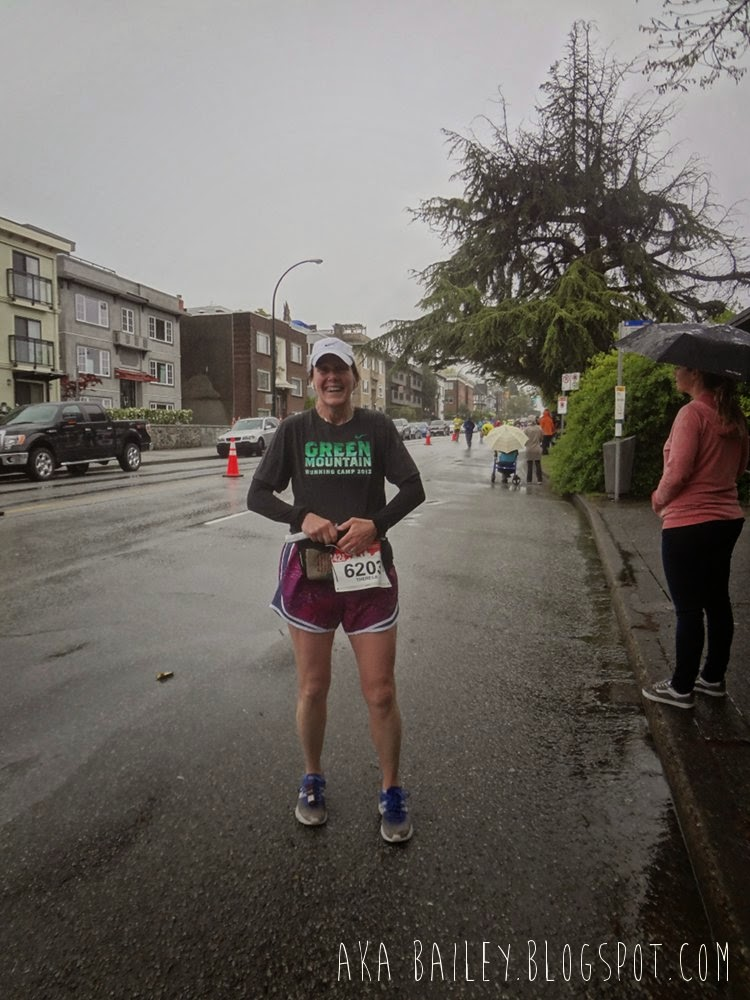 My mom running through the Kitsilano leg of the 2014 Vancouver Marathon