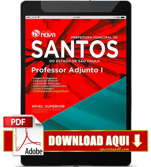 Apostila Prefeitura de Santos Professor Adjunto PDF Download 2016