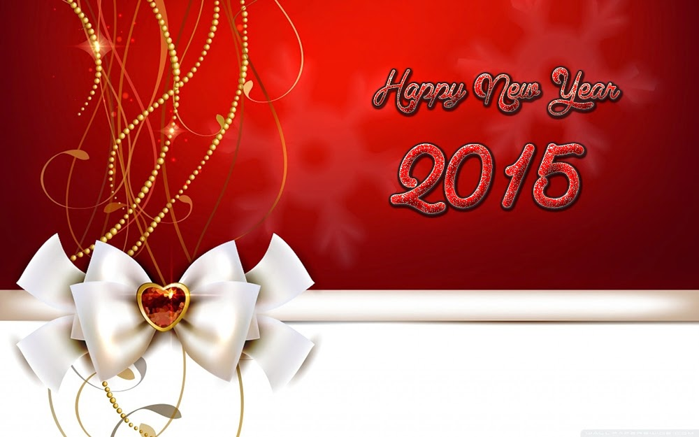 Christmas Ribbon Lump Happy New Year Greeting Cards 2015 Pic
