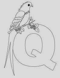 Printable Alphabet Coloring pages Quail