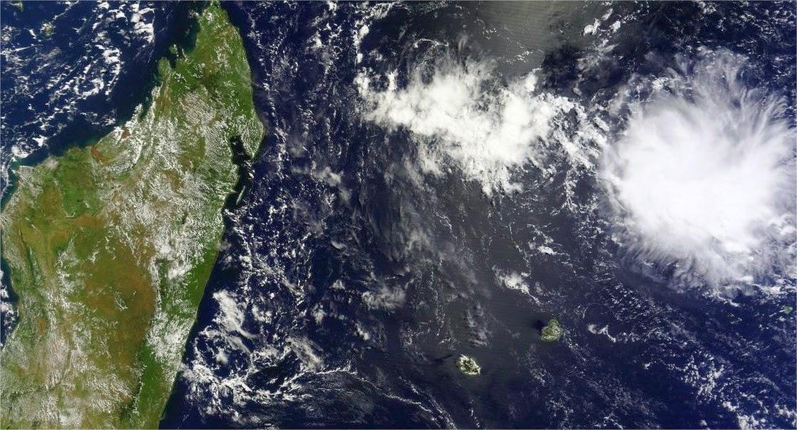 Image satellite de la Réunion, madagascar, océan indien