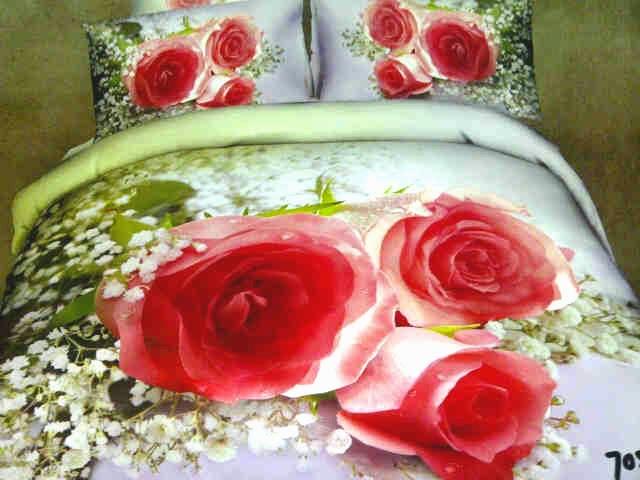 Sprei Jepang Motif Bunga Mawar Pink
