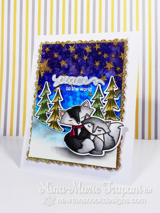 Peaceful Fox Winter Card by Nina-Marie Trapani | Fox Hollow stamp set & die set by Newton's Nook Designs #newtonsnook #fox