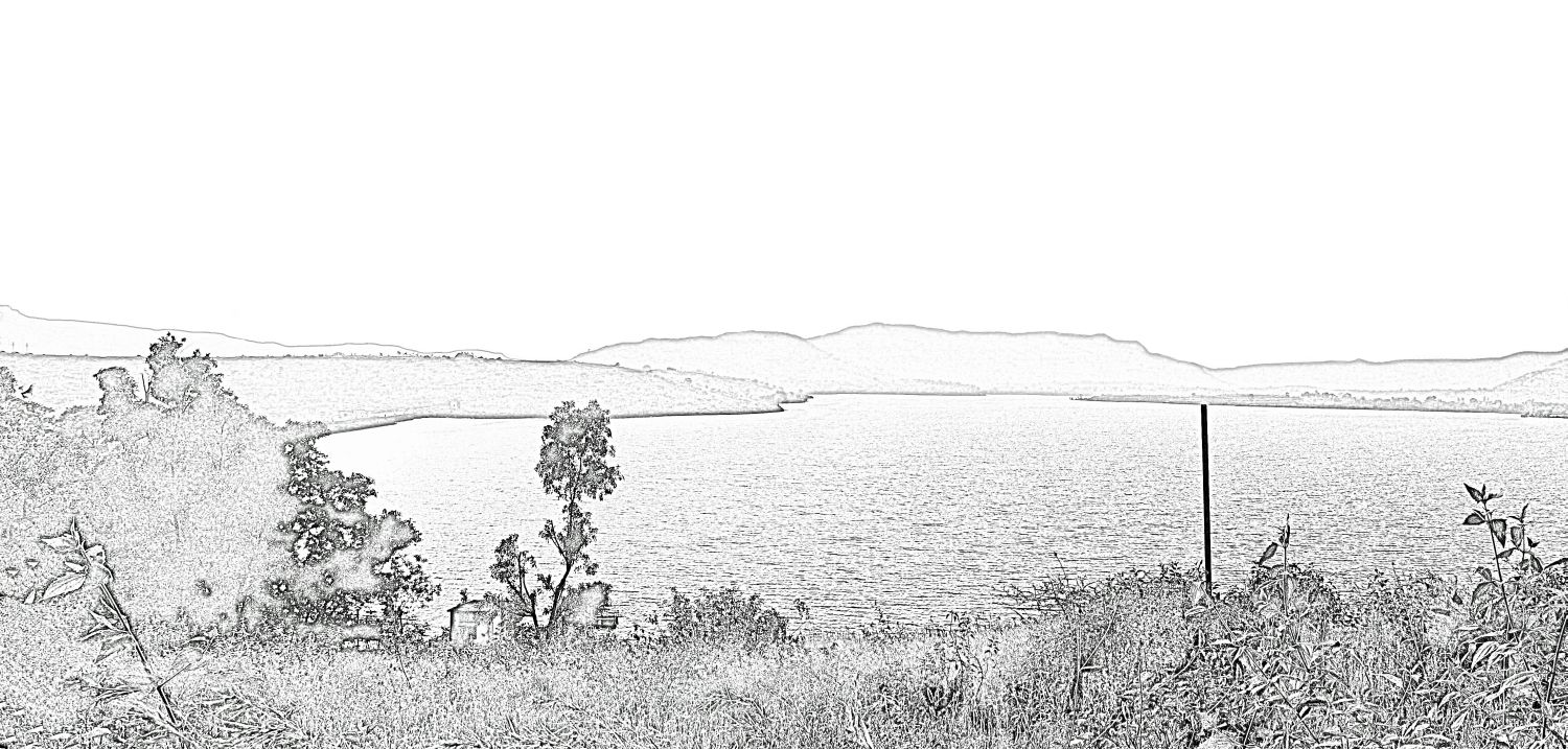Stock Pictures: Sketches of hills, a lake and trees