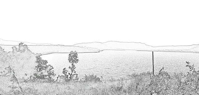 lake and hills sketch